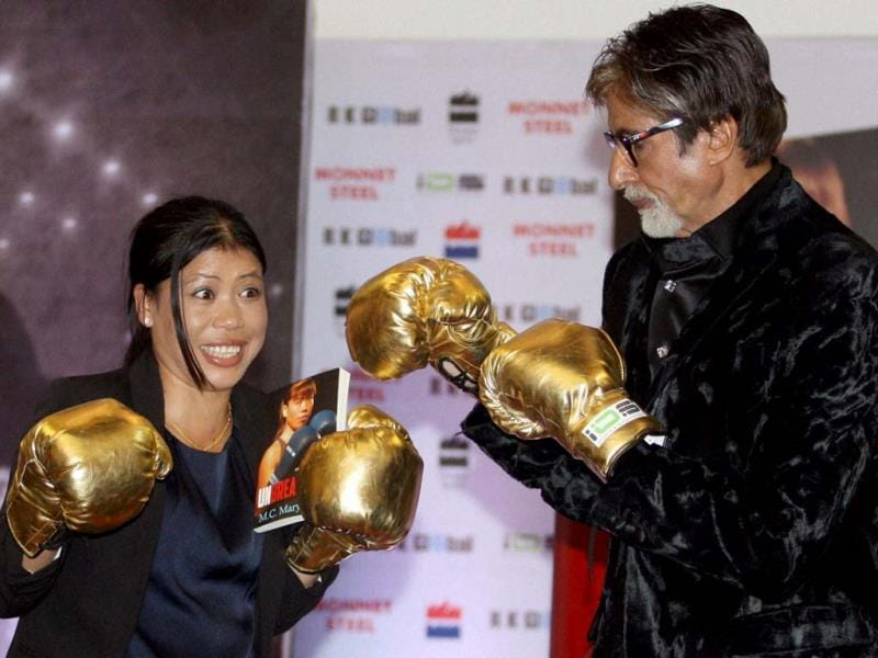 Amitabh Bachchan not only launched Olympic champion boxer Mary Kom's autobiography Unbreakable the other day, he also took some boxing lessons from her. Check out the pics.