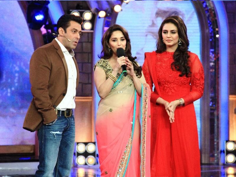 Salman Khan, Madhuri Dixit and Huma Qureshi.