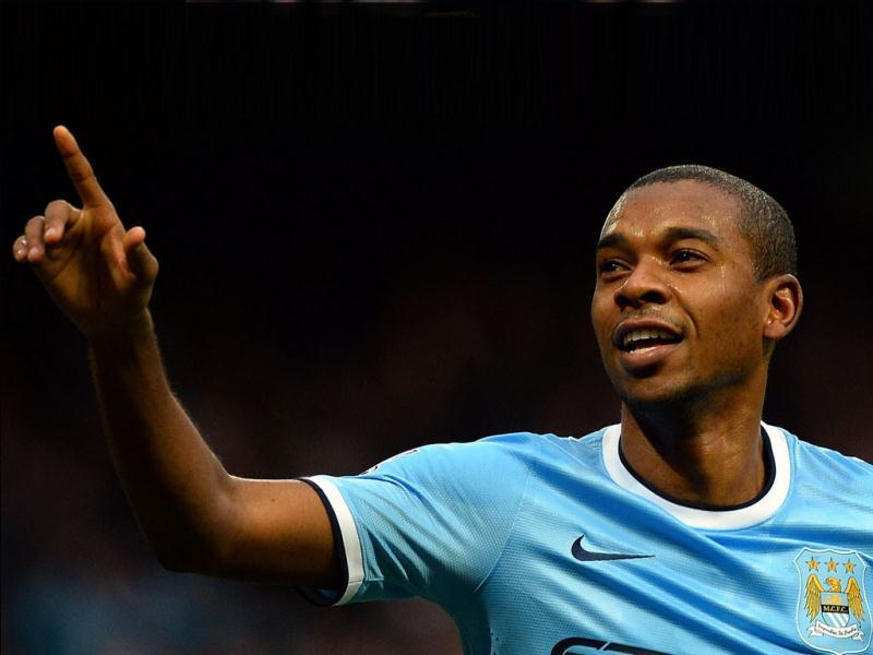 Manchester City's Brazilian midfielder Fernandinho celebrates scoring his second goal during the English Premier League match against Arsenal at the Etihad Stadium in Manchester. (AFP Photo)