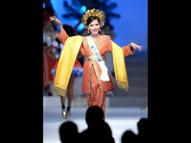 Clad in her national costume, Charissa Chong of Malaysia appears on stage during the 53rd Miss International Beauty Pageant in Tokyo. (AFP Photo)