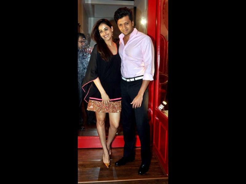 Cosy twosome: Riteish and Genelia look happy.