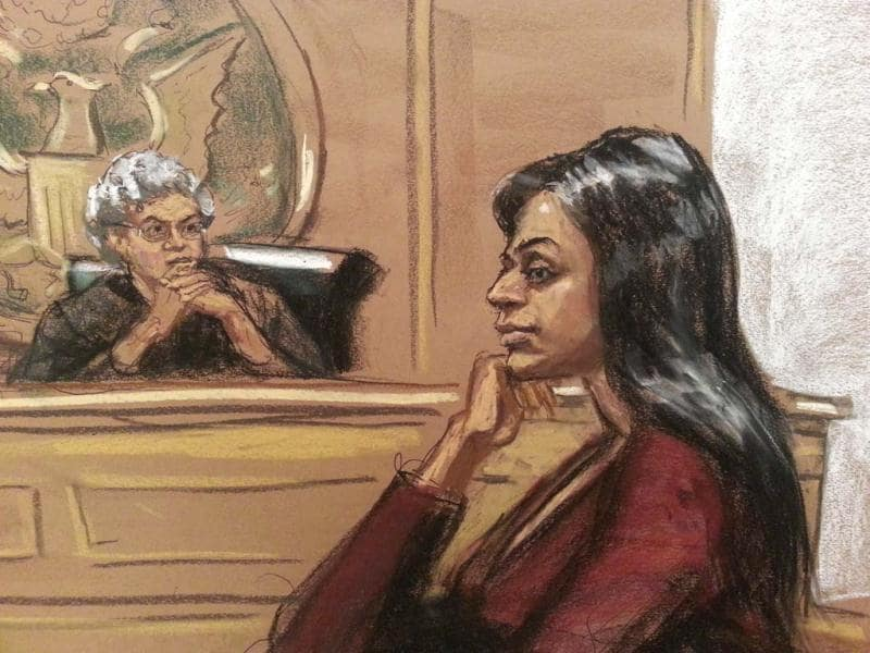 A sketch of India's deputy consul general in New York, Devyani Khobragade, in Manhattan Federal court. (Reuters)