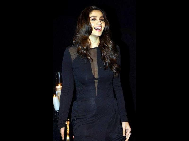 Elated: Alia Bhatt in an all-black ensemble.