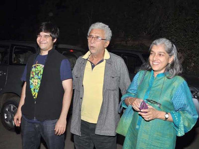 Family affair: Naseeruddin Shah with son Vivaan Shah and wife Ratna Pathak Shah.