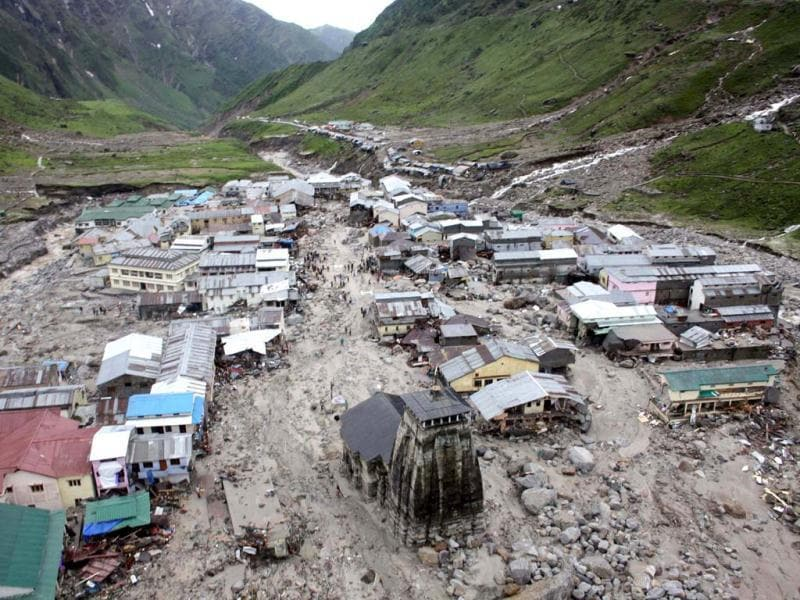 Kedarnath Temple and the buildings around it were destroyed by the torrential rains and floods that claimed many lives and caused devastation in Uttarakhand in June. (HT Photo)