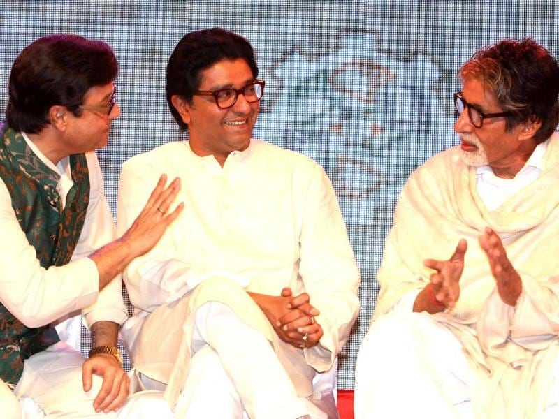 Praising the actor for his immense contribution to the Indian film industry, Raj said Big B is not the brand ambassador of any state in particular but of the nation. Sachin Pilgaonkar (L) was also present at the event.