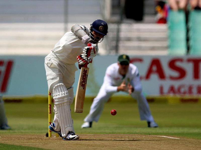 Shikhar Dhawan plays defensively during Day 1 of the second Test match between India and South Africa at the Sahara Stadium in Durban. (AFP Photo)