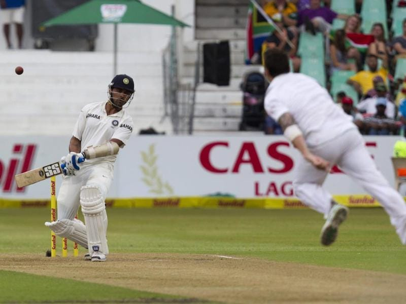Murali Vijay evades a short ball from South Africa's Dale Steyn during the first day of the second cricket test match in Durban. (Reuters photo)