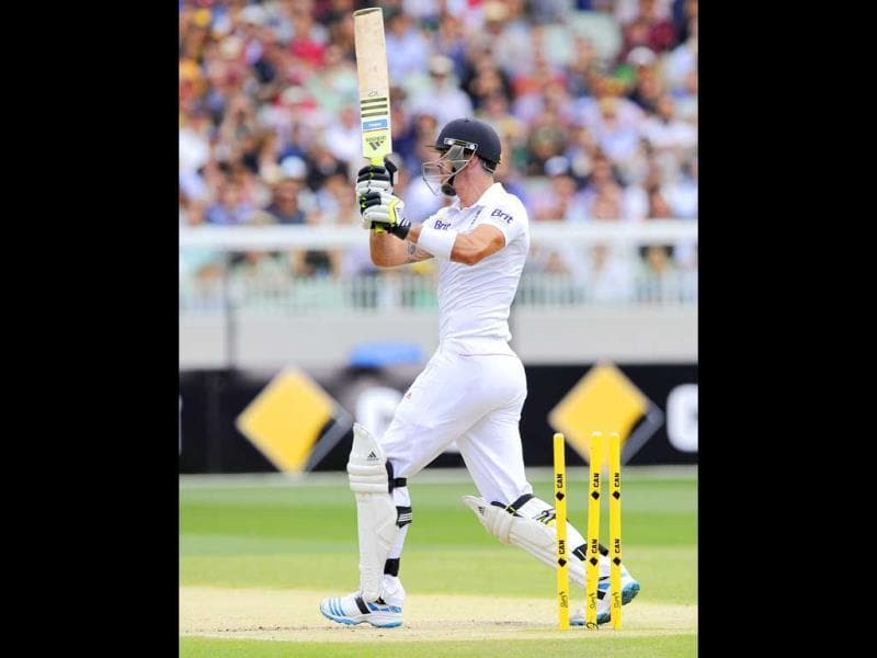 England's Kevin Pietersen is bowled out by Australia's Mitchell Johnson for 71 runs on the second day of the fourth Ashes Test at the Melbourne Cricket Ground in Melbourne, Australia. (AP Photo)