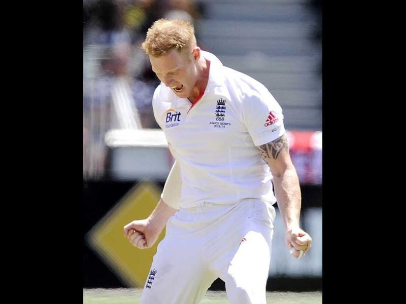 England's Ben Stokes celebrates after taking the wicket of Australia's Shane Watson for 10 runs during the fourth Ashes Test at the Melbourne Cricket Ground in Melbourne. (AP Photo)