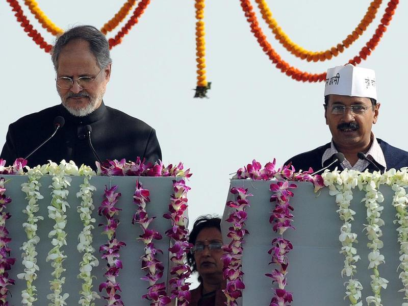 AAP leader Arvind Kejriwal takes his oath of office as chief minister of Delhi's. (AFP photo)