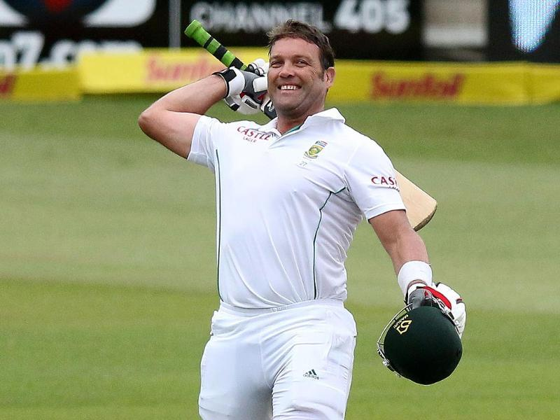 South Africa's Jacques Kallis celebrates his century after he became the third leading Test run scorer of all time. (AFP)