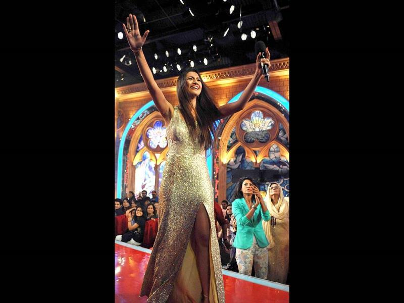 An elated Gauhar on stage.