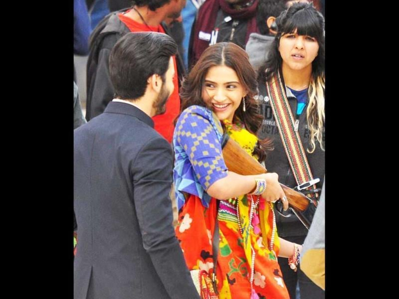 Sonam Kapoor looks pretty on the sets of Khoobsurat.