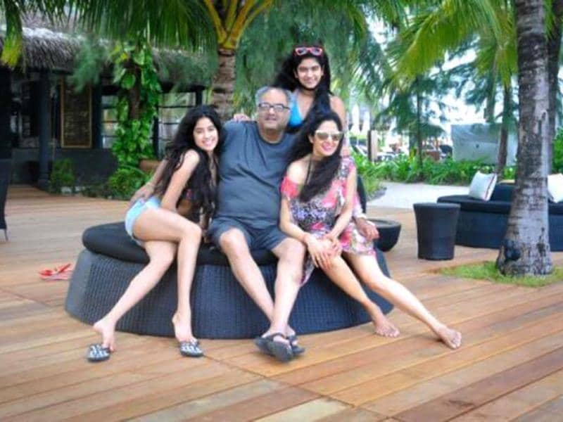 Family time: Boney Kapoor poses with wife Sridevi and daughters Jhanvi and Khushi.