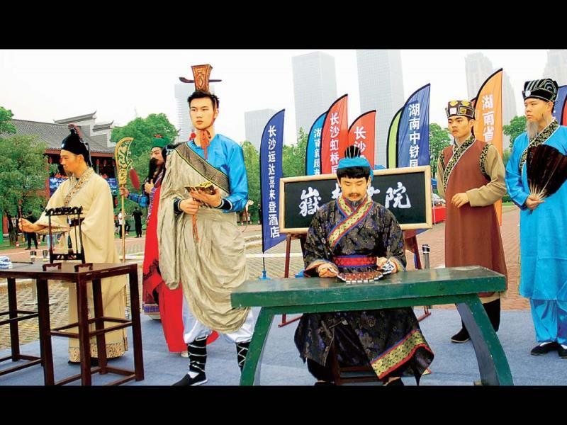 Past glory: students dressed in costumes from the Chinese dynasties at the inaugural event of the Hunan Tourism Festival