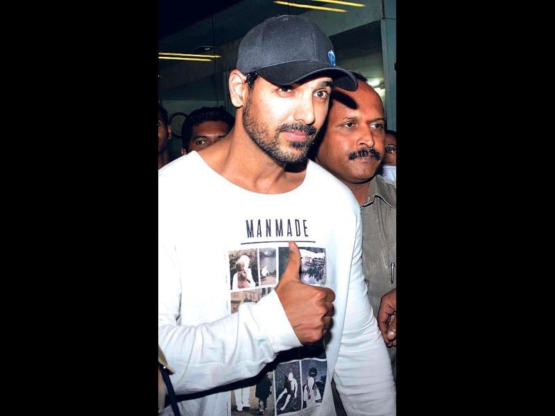 John Abraham returned to the city on Friday night. The actor was on his way back from LA where he secretly tied the knot with Priya Runchal.