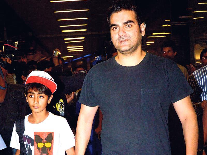 Arbaaz Khan and son Arhaan returned from their trip abroad on Friday night.