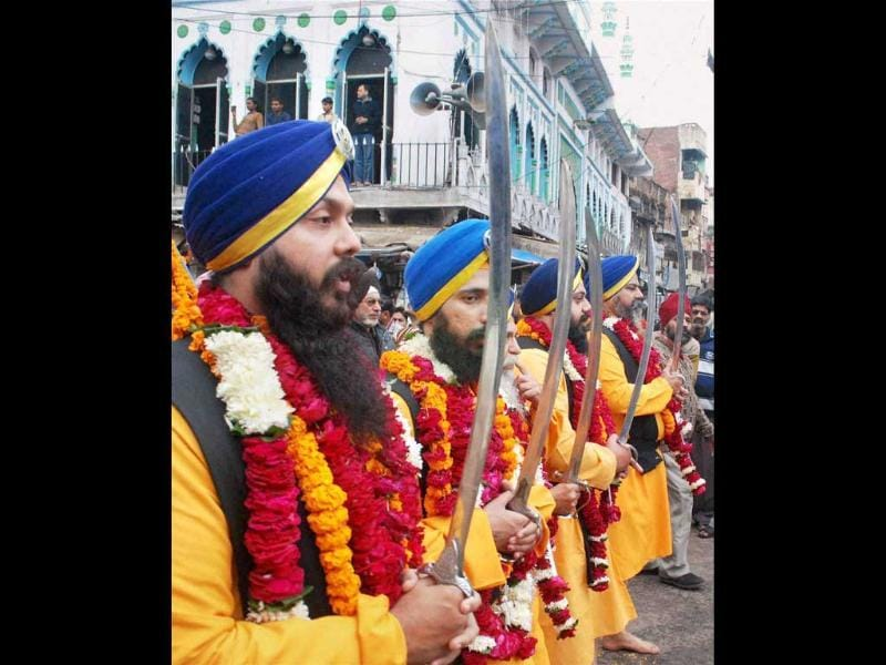 The Panj Piaras leading the procession on the occasion of