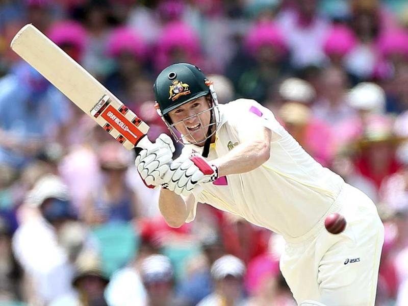 Australia's Chris Rogers plays a shot on the third day of their Ashes cricket Test match in Sydney, Australia. (AP Photo)