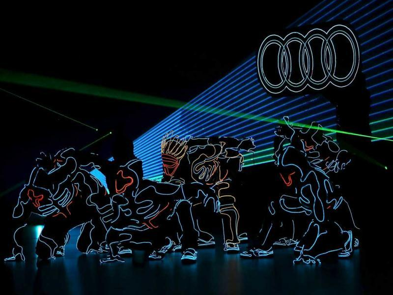 Dancers perform during a keynote address by Rupert Stadler, Chairman of the Board of Management of Audi AG, at the 2014 International CES at The Chelsea at The Cosmopolitan of Las Vegas on January 7, 2014 in Las Vegas, Nevada. AFP