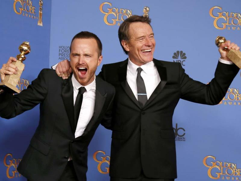 Bryan Cranston (R) poses backstage after he won the award Best Actor in a TV Series, Drama with co-star Aaron Paul, who celebrates the win for Best TV Series, Drama for Breaking Bad on January 12, 2014. (Reuters Photo)
