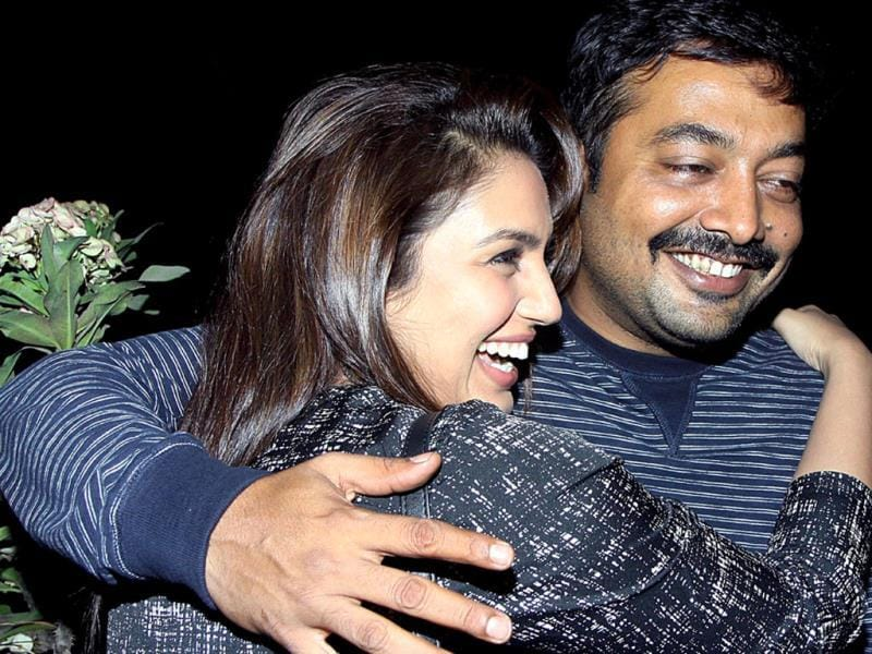 Bollywood actor Huma Qureshi with director Anurag Kashyap during the screening of film American Hustle in Mumbai on Saturday. Check out more pics.