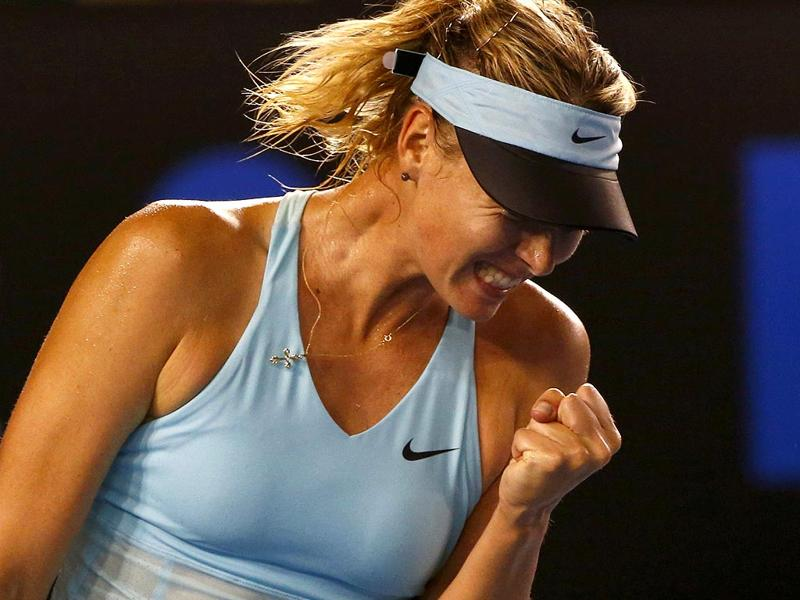 Maria Sharapova of Russia celebrates winning a point during her women's singles match against Bethanie Mattek-Sands of the United States at the Australian Open in Melbourne. (Reuters Photo)