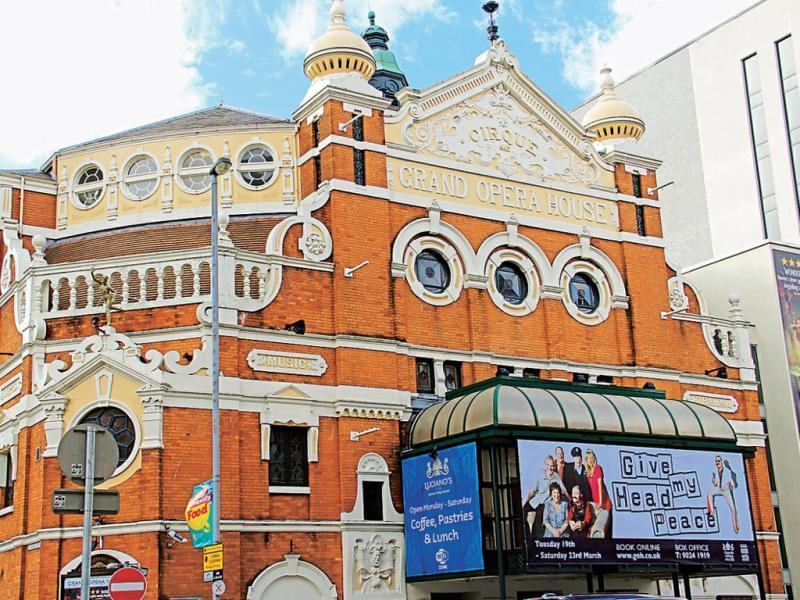 Among Belfast's cocktail of architecture styles is the restored twin-domed Grand Opera House, designed by Frank Matcham. Pavarotti made his UK debut at the Grand Opera House. Text and Photo by Kalpana Sunder