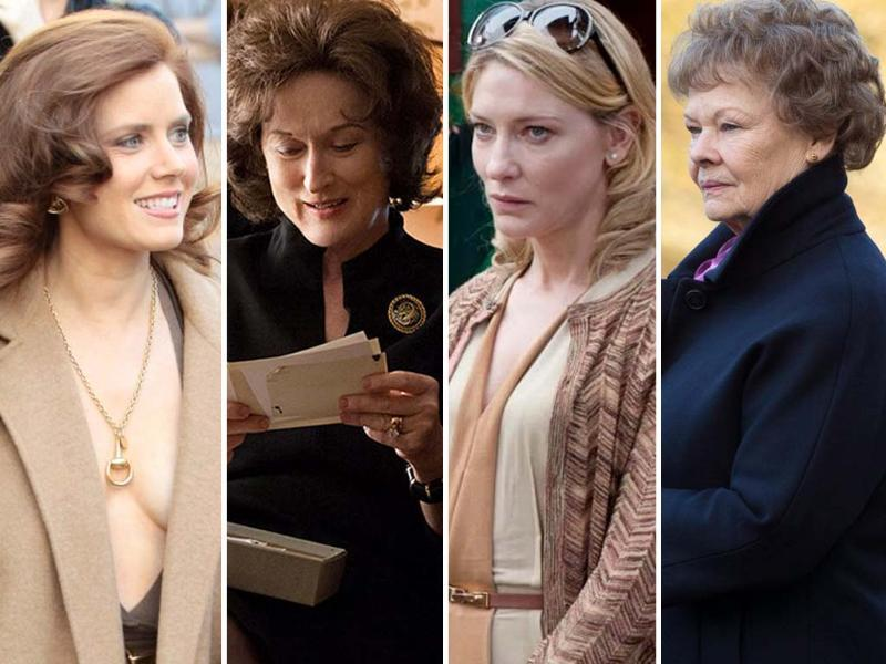Best actress nominations: Amy Adams (American Hustle), Meryl Streep (August: Osage County), Cate Blanchett (Blue Jasmine) and Judi Dench (Philomena). Sandra Bullock in Gravity is a favourite this year.