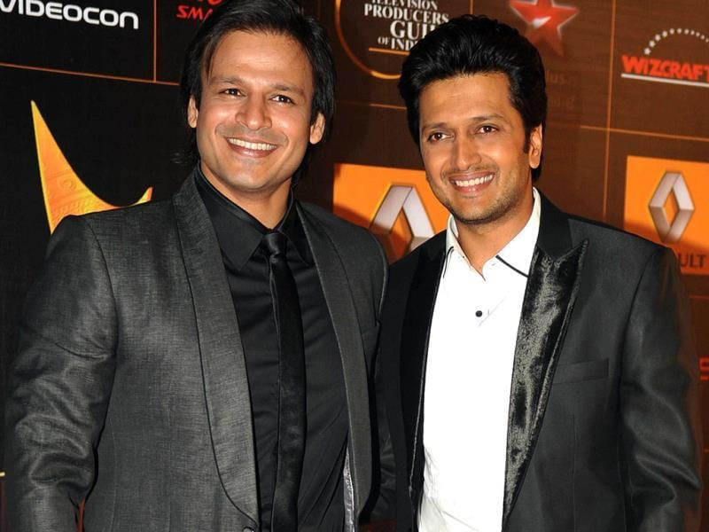 Masti! Vivek Oberoi and Riteish Deshmukh have fun. (AFP)