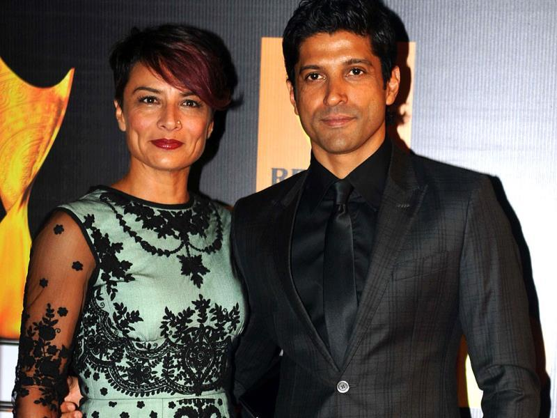 Farhan Akhtar and his wife Adhuna. (AFP)
