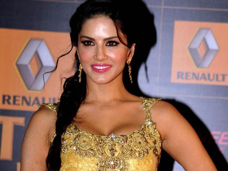 Sunny Leone shines in a golden outfit. (AFP)