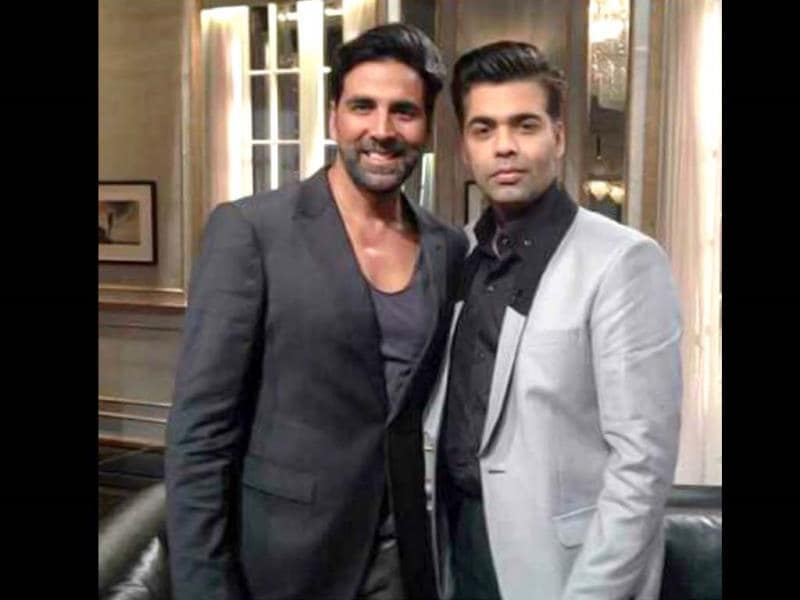 Akshay Kumar poses with Karan Johar on the sets of his talk show Koffee with Karan.