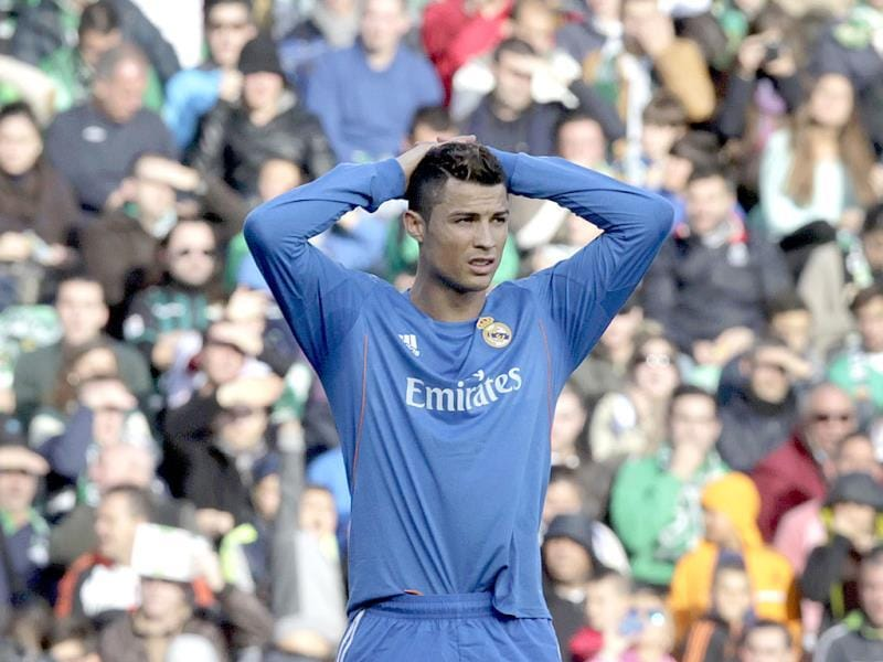 Real Madrid's Cristiano Ronaldo is seen during their La Liga soccer match against Betis at the Benito Villamarin stadium, in Seville, Spain on Saturday. AP Photo
