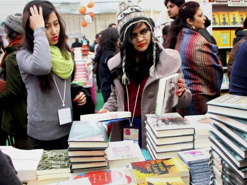 Visitors browsing through books during the ongoing JLF.