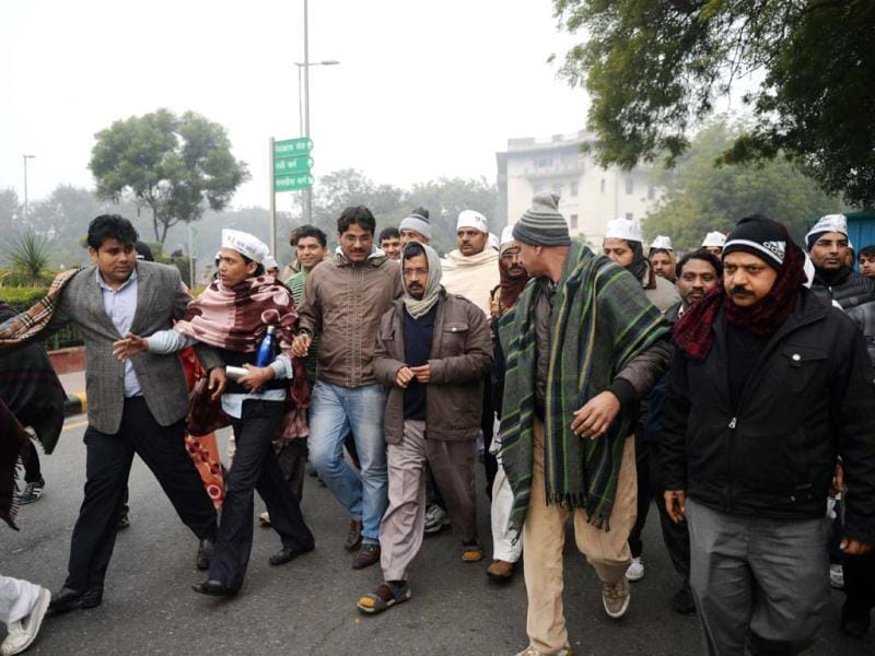 Delhi CM Kejriwal during the 2nd day protest against police near Rail Bhavan in New Delhi. (PTI photo)