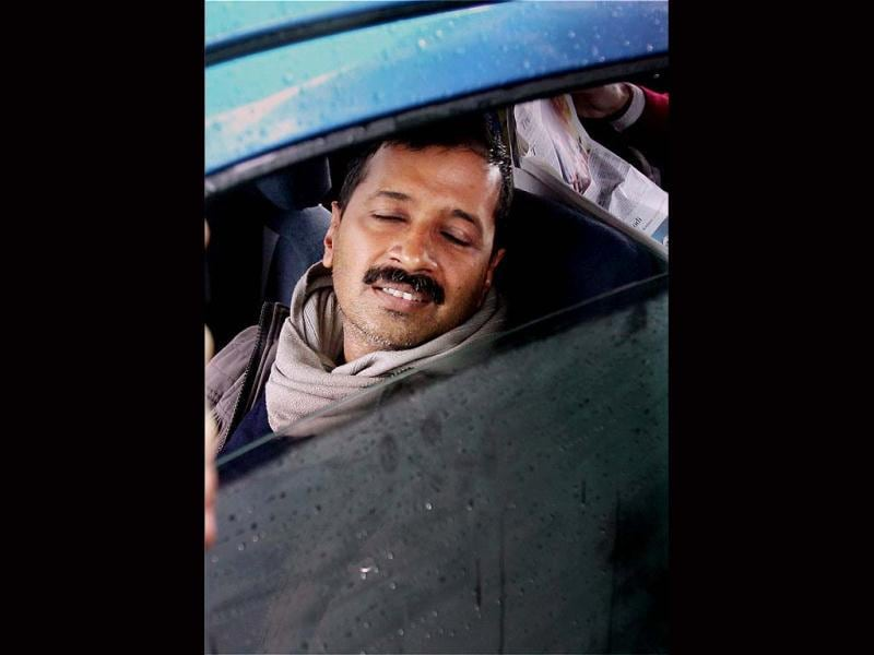 Delhi CM Arvind Kejriwal during the 2nd day protest against police near Rail Bhavan in New Delhi. (PTI photo)