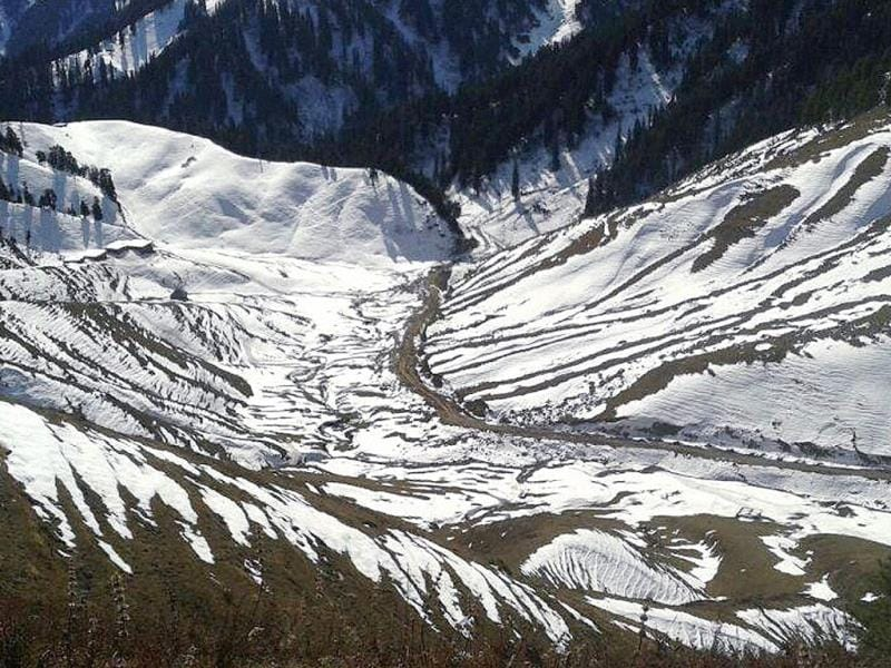 A view of snow after heavy snowfall in the Bhaderwah district of Jammu and Kashmir. (PTI Photo)