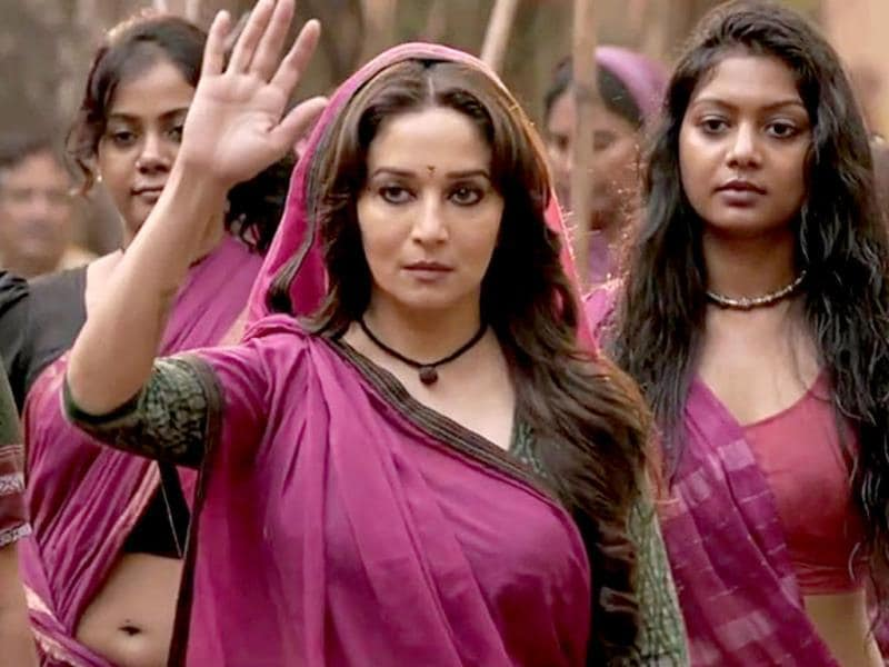 Madhuri's character is reportedly modelled on Gulabi Gang leader Sampat Pal Devi.