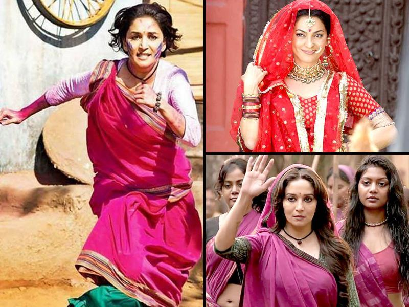 Madhuri Dixit and Juhi Chawla would be seen sharing screenspace for the first time in Soumik Sen's Gulaab Gang. Check out the stills.