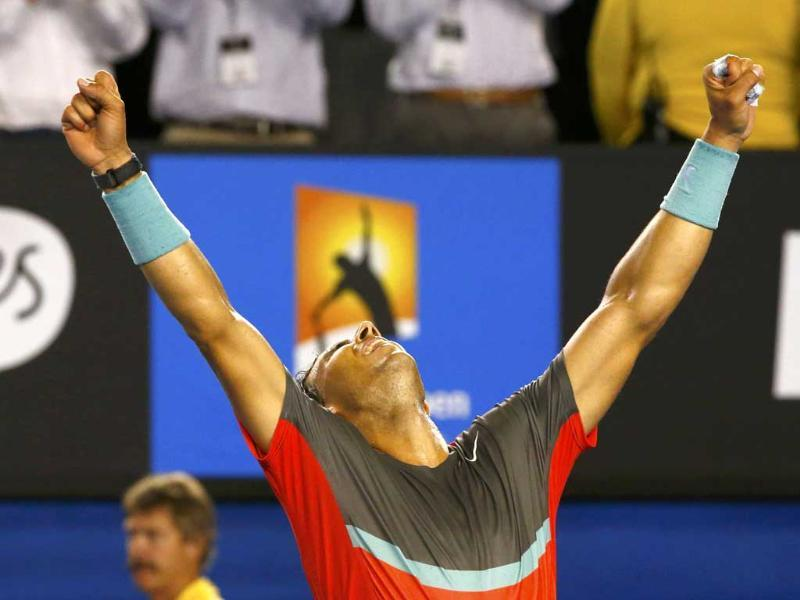 Rafael Nadal of Spain celebrates defeating Roger Federer of Switzerland in their men's singles semi-final match at the Australian Open 2014 in Melbourne. (Reuters Photo)
