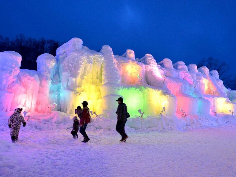 People visit the Chitose-Lake Shikotsu Ice Festival in Chitose, Japan. (AFP)