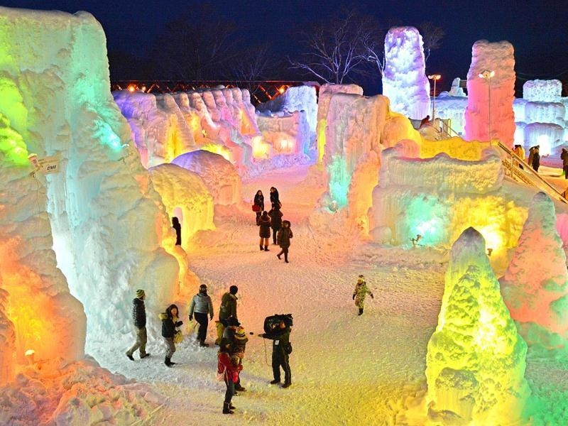 People visit the Chitose-Lake Shikotsu Ice Festival that will be held until February 16. (AFP)