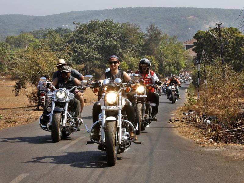 Harley owners riding their bikes at India Bike Week venue on the opening day of the event at India Bike Week 2014, held on January 17 and 18, in Goa. (Ajay Aggarwal/HT)
