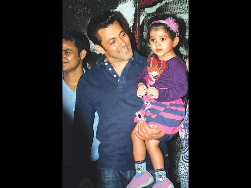 Salman Khan interacts with a little girl while promoting Jai Ho.