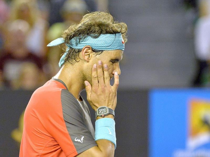 Rafael Nadal of Spain gestures during his loss to Stanislas Wawrinka of Switzerland in the men's singles final of the 2014 Australian Open in Melbourne. (AFP Photo)