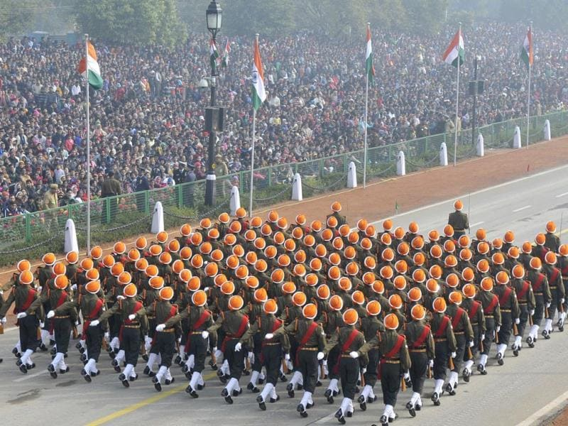 Indian Army soldiers belonging to the Punjab Regimental Centre march during the Republic Day parade at Rajpath in New Delhi. (HT Photo/ Arvind Yadav)