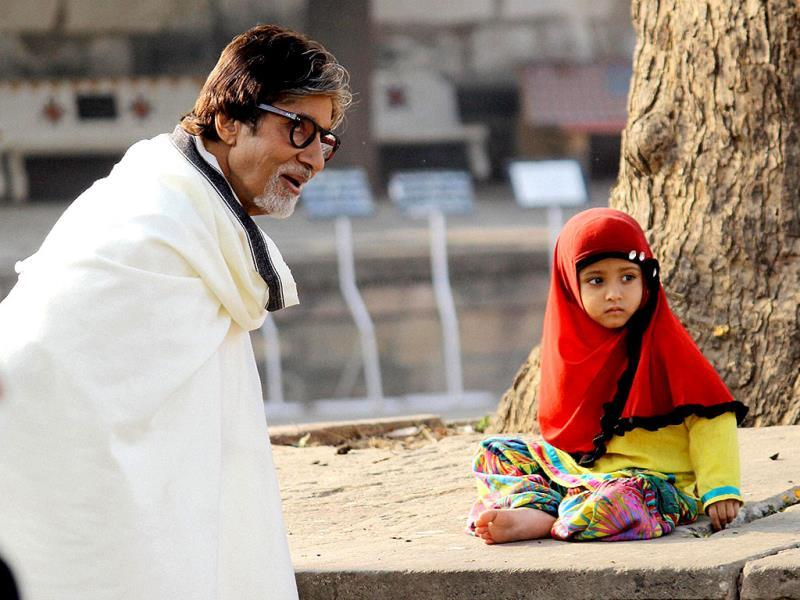 Amitabh Bachchan during a shooting at Sarkhej Roza in Ahmedabad on Sunday. (TI Photo)