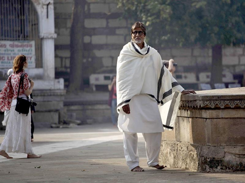 Amitabh Bachchan stands during the shoot for Gujarat tourism promotions at Sarkhej Roja, Ahmedabad. (AP Photo)